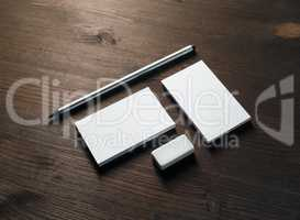 Business cards, pencil, eraser