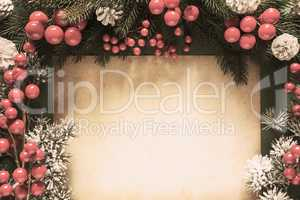 Christmas Decoration, Retro Fir Tree Branch, Copy Space