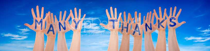Many Hands Building Word Many Thanks, Blue Sky