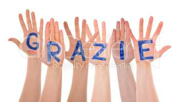 Many Hands Building Grazie Means Thank You, Isolated
