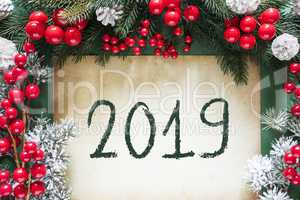 Christmas Decoration Like Fir Tree Branch, Text 2019