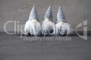 Three Gray Gnomes, Copy Space For Advertisement, Cement