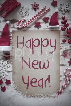 Retro Christmas Flat Lay, Snow, Happy New Year