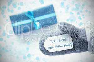 Turquoise Gift, Glove, Geburtstag Means Happy Birthday, Snowflakes