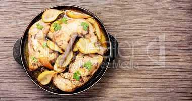 Chicken stewed in pear