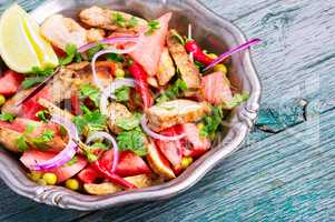 Meat salad with watermelon