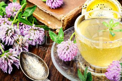 Summer herbal tea with clover