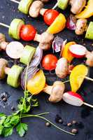 Vegetables grilled skewers