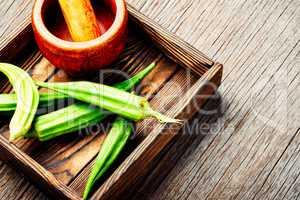 Raw green organic okra