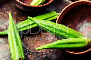 Raw green okra vegetables