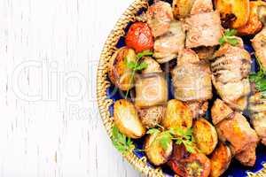Turkish dish of eggplant parmak-koft