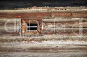 Small window, log wall