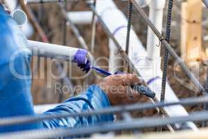 Plumber Applying Pipe Cleaner, Primer and Glue to PVC Pipes