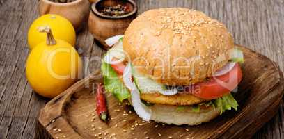 Diet hamburger with pumpkin