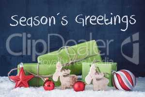 Green Christmas Gifts, Snow, Decoration, Text Seasons Greetings