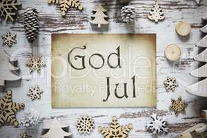 Rustic Christmas Decoration, Paper, God Jul Means Merry Christmas