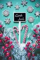 Vertical Black Christmas Sign,Lights, God Jul Means Merry Christmas