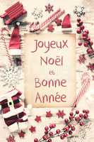 Nostalgic Christmas Flat Lay, Bonne Annee Means Happy New Year