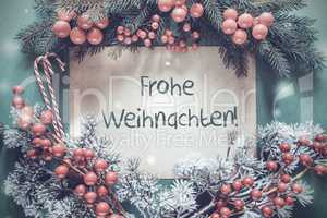 Christmas Garland, Frohe Weihnachten Means Merry Christmas