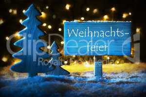 Blue Tree, Text Weihnachtsfeier Means Christmas Party