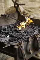Flames of fire in a forge