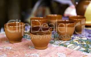 Traditional clay glasses for wine