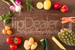 Assorted raw vegetables and fruits