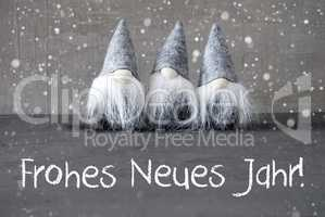 Gnomes, Snowflakes, Frohes Neues Jahr Means Happy New Year