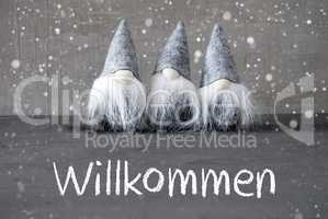 Three Gray Gnomes, Cement, Snowflakes, Willkommen Means Welcome