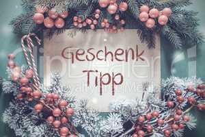 Christmas Garland, Fir Tree Branch, Genschenk Tipp Means Gift Tip