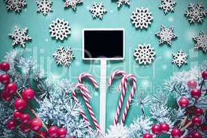 Black Sign With Christmas Decoration,Lights, Frosty Look
