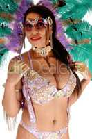 Close up image of carnival dancer woman with big boobs
