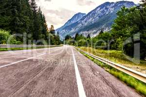 Mountain road in Austia, photo in motion