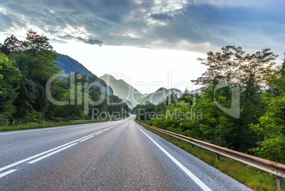 Beautiful mountain road scenery in the Austrian Alps