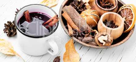 Seasonal warming drink mulled wine