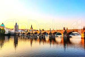 Sunrise over the Charles Bridge, Prague, Czech Republic.