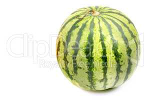 round watermelon isolated on white background. Free space for te