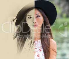 Chinese Asian Young Woman Girl Split Screen Sepia and Color