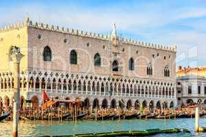 Doge's Palace and gondolas pier, Venice, Italy