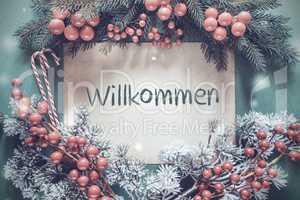 Christmas Garland, Fir Tree Branch, Willkommen Means Welcome