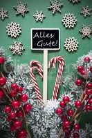 Retro Black Christmas Sign,Lights, Alles Gute Means Best Wishes