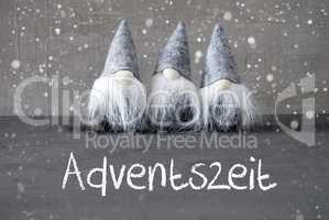 Gnomes, Cement, Snowflakes, Adventszeit Means Advent Season
