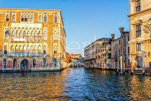 Ca' Foscari University of Venice and a bridge over a channel nea