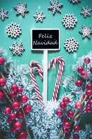 Vertical Black Christmas Sign,Lights, Feliz Navidad Means Merry Christma
