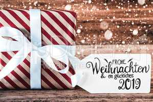 Gift, German Calligraphy Glueckliches 2019 Means Happy 2019, Snowflakes