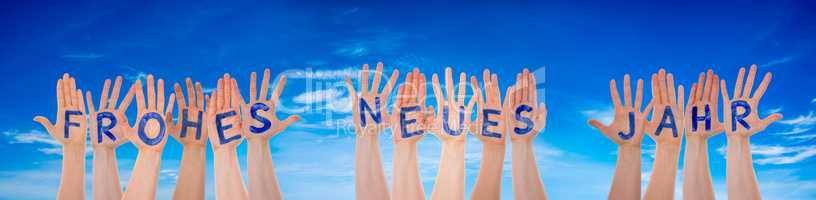 Many Hands Building Frohes Neues Means Happy New Year, Blue Cloudy Sky