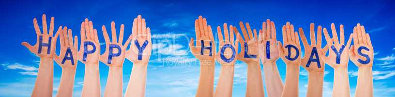 Many Hands Building Happy Holidays, Blue Cloudy Sky
