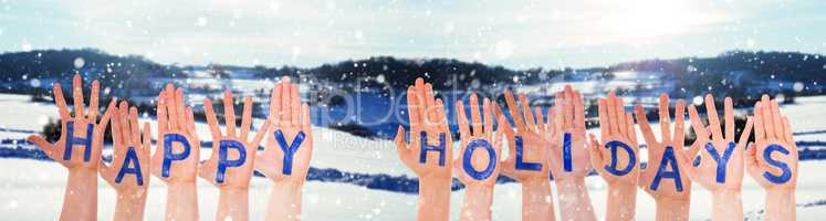 Many Hands Building Happy Holidays, Winter Scenery As Background