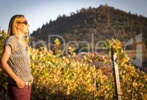 Women standing in an vineyard the wine region Baden-Baden Rebland