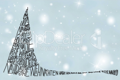 Tree With Merry Christmas In Various Languages, Gray Background
